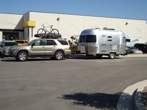 The rig, featuring the Airstream Bambi named Winnie.