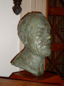 Steinbeck bust at Sag Harbor Library.