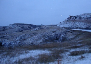 The Badlands look pretty good in the early morning decked out in snow.