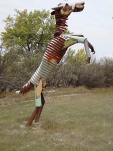 Eastern Montana lawn art.  Rocinante, is that you?